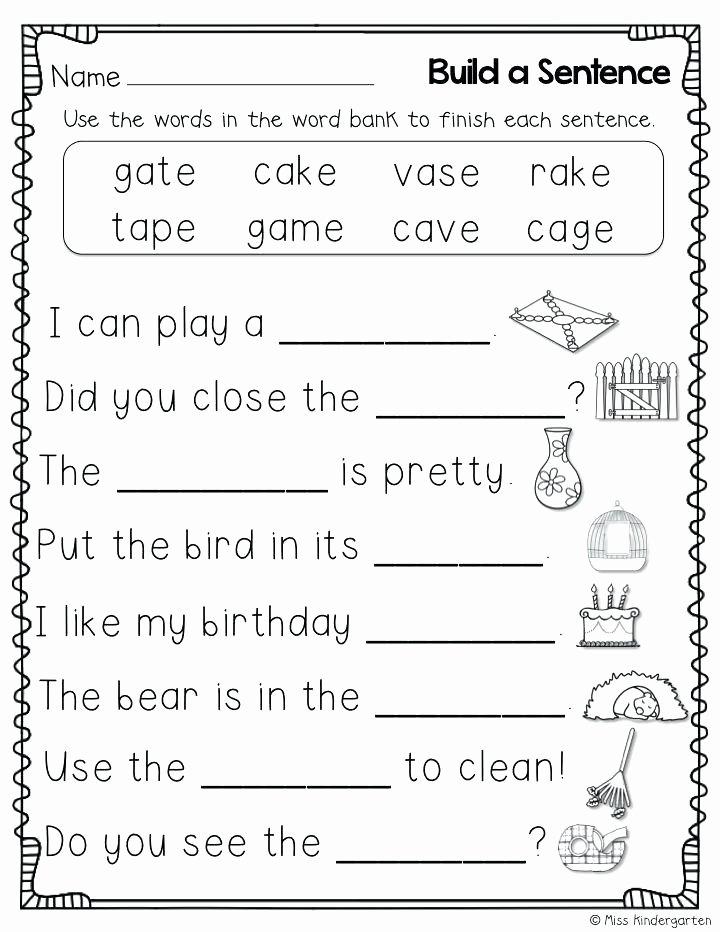 Complete Sentences Worksheets 1st Grade Silent E Worksheets 1st Grade Worksheet Have Fun Teaching 4
