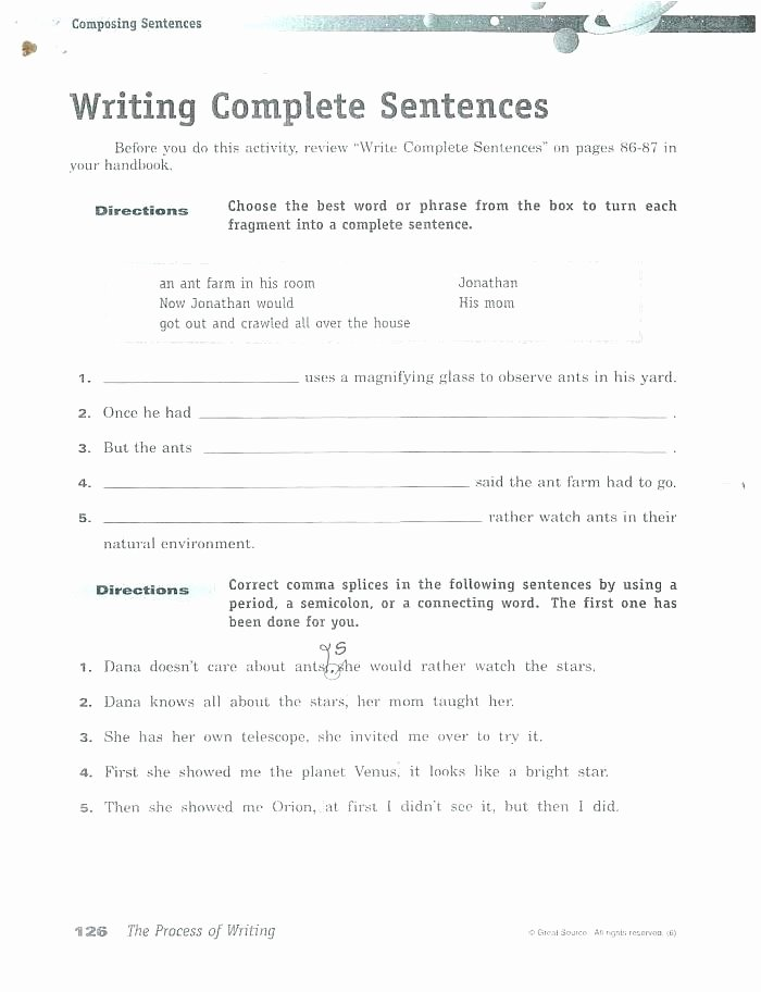 Complete Sentences Worksheets 1st Grade Writing Plete Sentences Worksheets 6th Grade