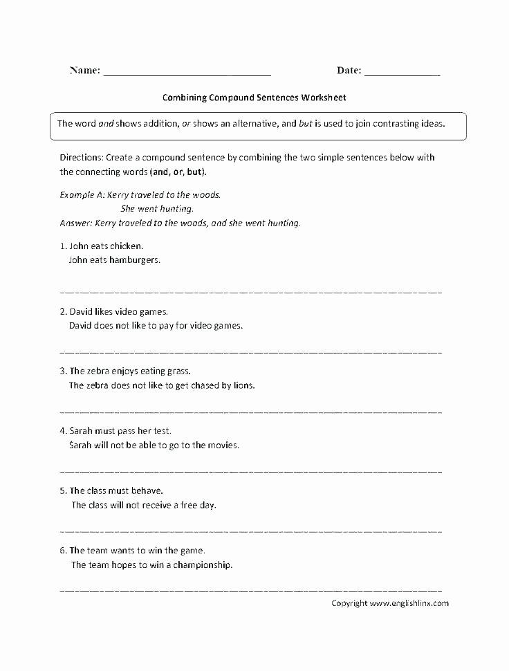 Complete Sentences Worksheets 2nd Grade Bining Sentences 4th Grade Worksheets
