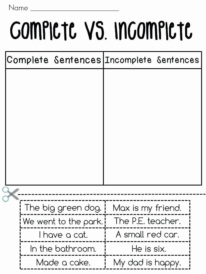 Complete Sentences Worksheets 2nd Grade Plete Sentences Vs In Plete Sentences sorting