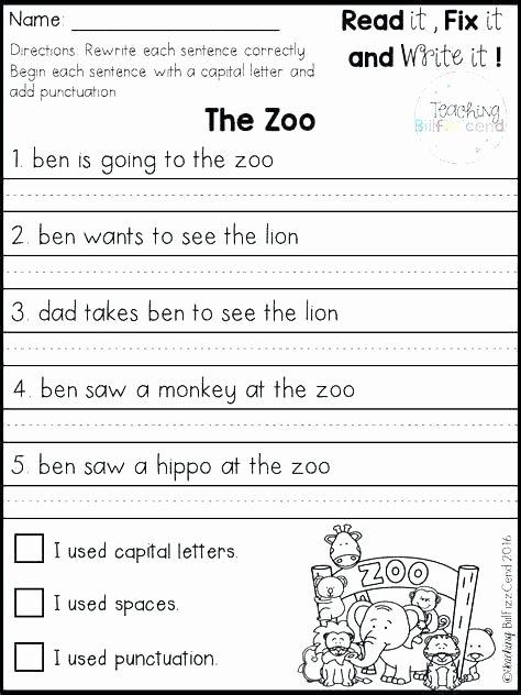 Complete Sentences Worksheets 2nd Grade Simple Sentences Worksheets Second Grade for Sentence Types