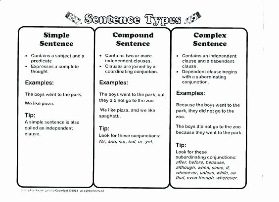 Complex Sentence Worksheets 3rd Grade Free Printable Types Sentences Worksheets Free Types