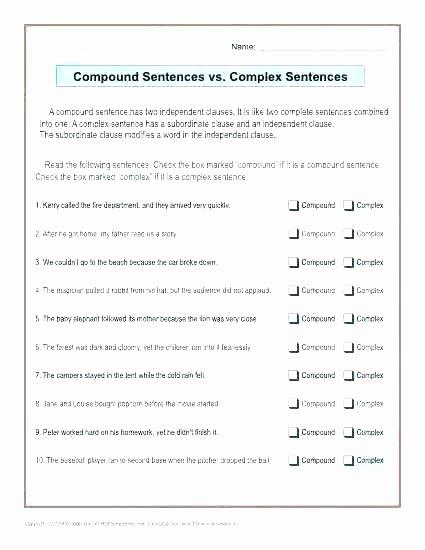 Complex Sentence Worksheets 3rd Grade Pound and Plex Sentences Sentence Structure