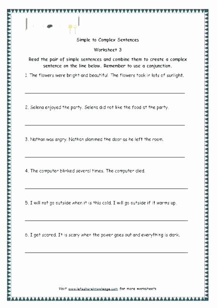 Complex Sentence Worksheets 3rd Grade Writing Pound Sentences Bining Worksheet 5th Grade Pdf