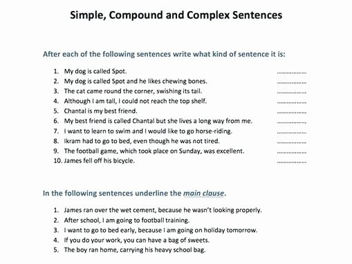 Complex Sentence Worksheets 4th Grade Related Post Simple and Pound Sentences Grade Worksheets