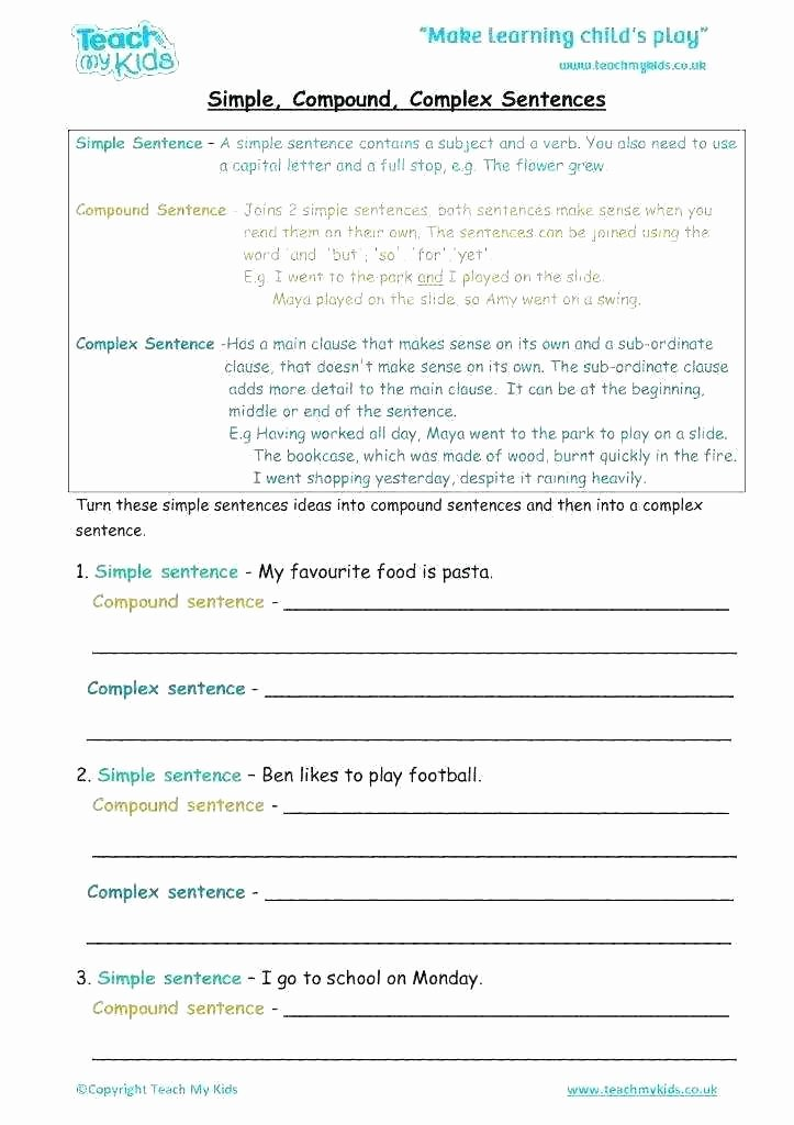 Complex Sentence Worksheets 4th Grade Simple Sentence Pound Sentence Worksheet Simple Sentences