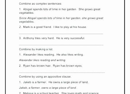 Complex Sentence Worksheets 4th Grade Teaching Plex Sentences Worksheets Pound Sentence