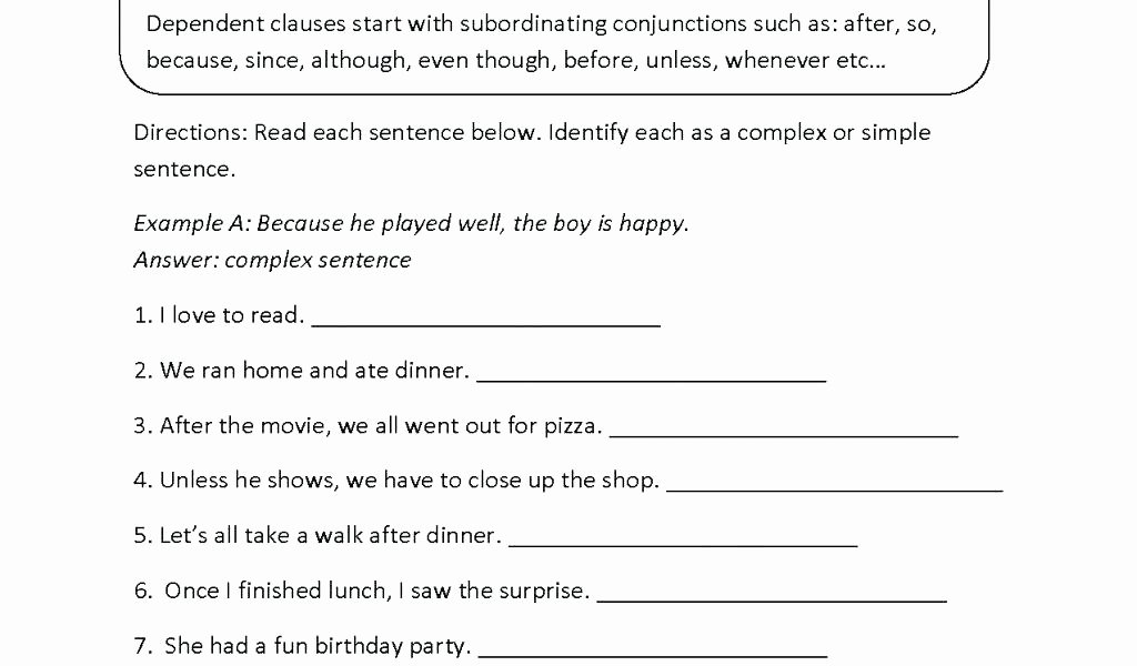 Complex Sentence Worksheets 4th Grade Types Sentences Worksheet Second Grade Sentences
