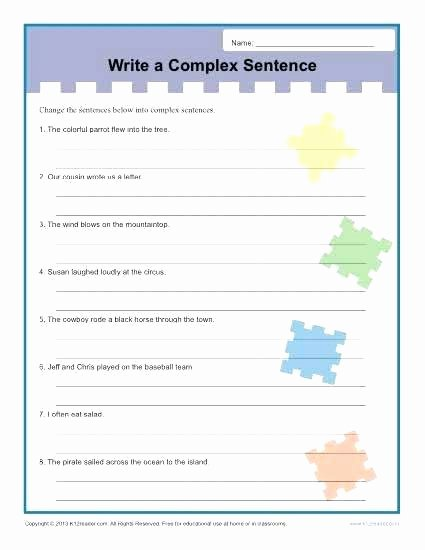 Complex Sentence Worksheets 4th Grade Writing Plex Sentences Sentence Structure Worksheets