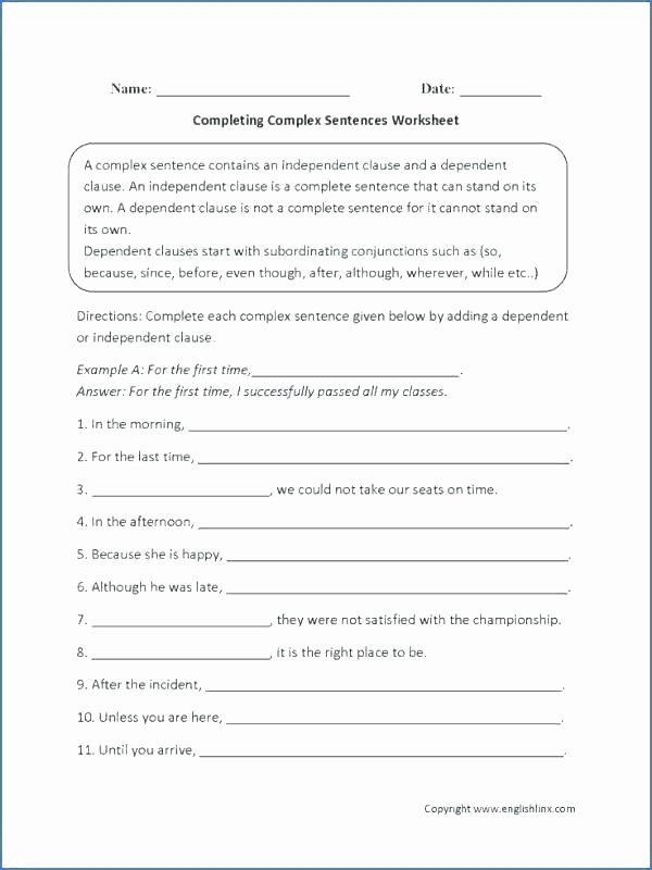 Complex Sentences Worksheets with Answers Conjunctions Exercises Worksheets