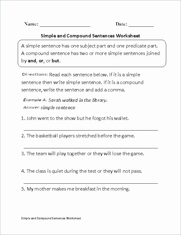 Complex Sentences Worksheets with Answers Simple Sentence Worksheets Ks1