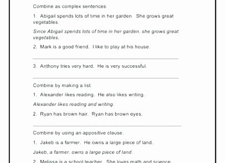 Complex Sentences Worksheets with Answers Teaching Plex Sentences Worksheets Pound Sentence
