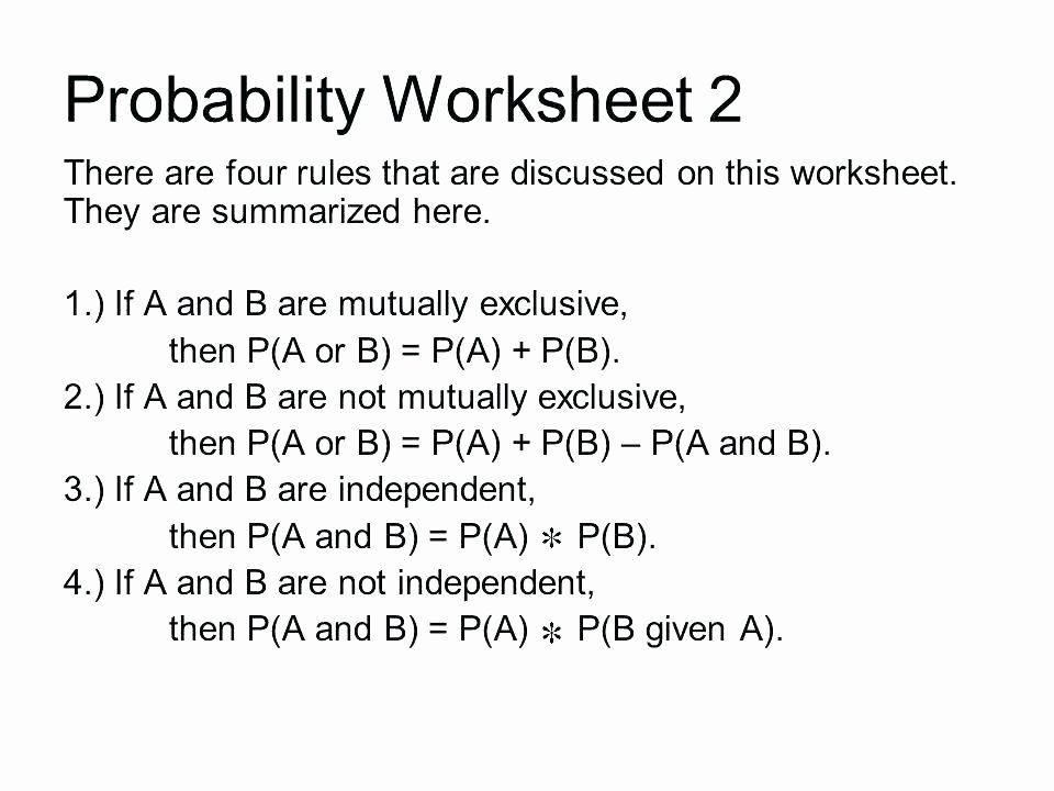 Compound Probability Worksheet Answers Probability Of Simple events Worksheets