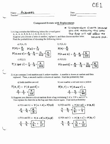 Compound Probability Worksheet Answers Probability Pound events Worksheet