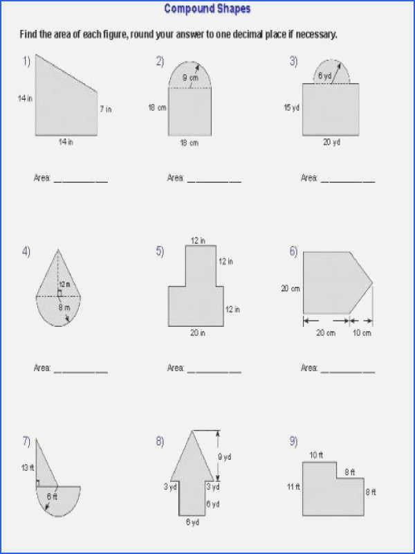 Compound Shapes Worksheet Answer Key 15 area Of Posite Shapes Worksheet