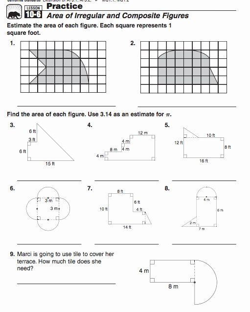 Compound Shapes Worksheet Answers Posite Figures 7th & 8th