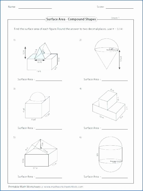 Compound Shapes Worksheet Answers Posite Shape Worksheet Math area Pound Figures