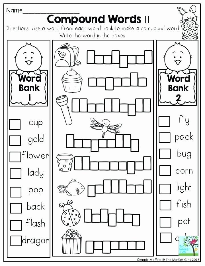 Compound Word Worksheet 2nd Grade Activity Worksheets for Grade 1