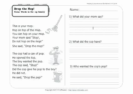 Comprehension Worksheet First Grade 1st Grade Reading and Prehension Worksheets