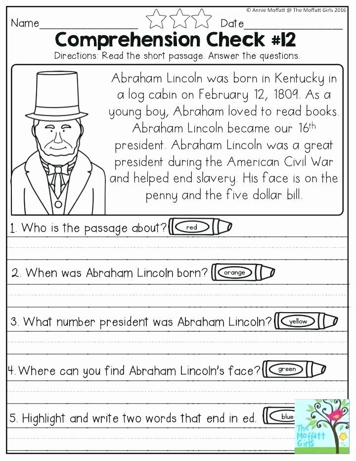 Comprehension Worksheet First Grade and Grade Reading Prehension Worksheets Free Printable