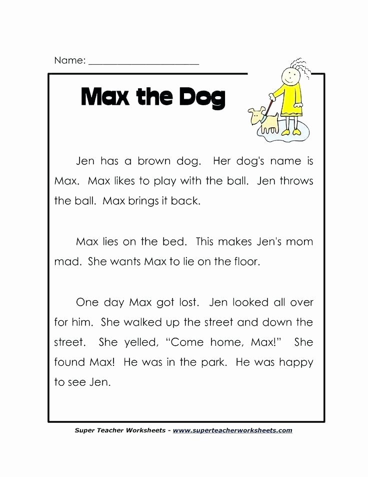 Comprehension Worksheet First Grade First Grade Reading Prehension Worksheets