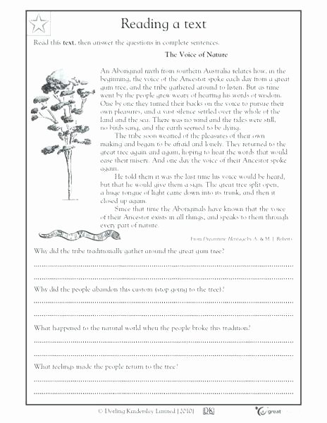 Comprehension Worksheets for Grade 6 Reading Worksheets for Grade 6