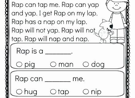 Comprehension Worksheets for Kindergarten Free Printable Kindergarten Reading Worksheets – Onlineoutlet