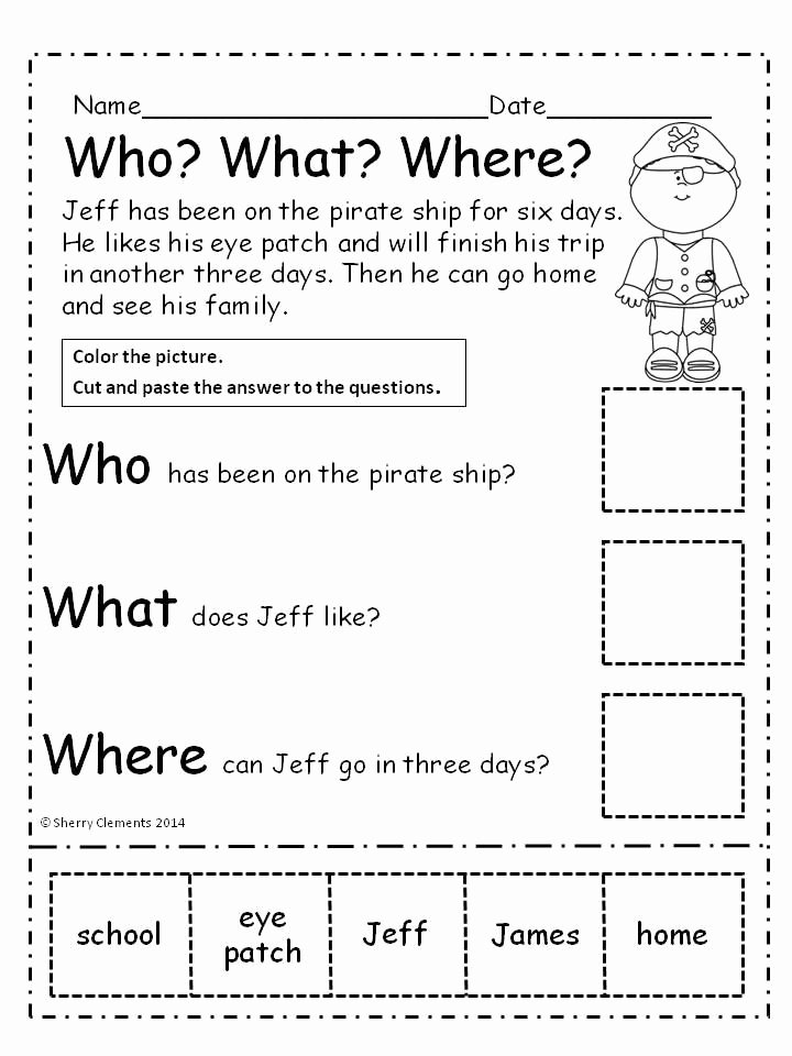 Comprehension Worksheets for Kindergarten Pirates who What where Reading Prehension Cut and