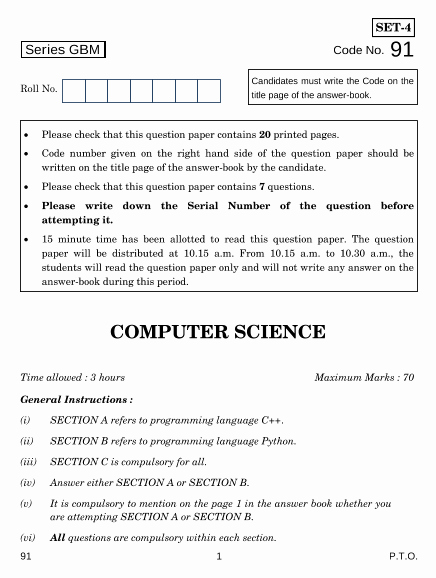 Computer Worksheets for Grade 1 Previous Year Puter Science Question Paper for Cbse Class