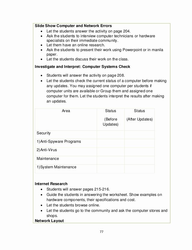 Computer Worksheets for Grade 1 Puter Hardware Servicing Learner S Material Grade 10