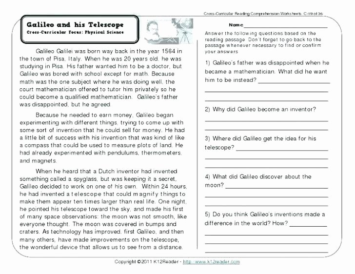 Computer Worksheets for Middle School Physical Science Worksheets Middle School
