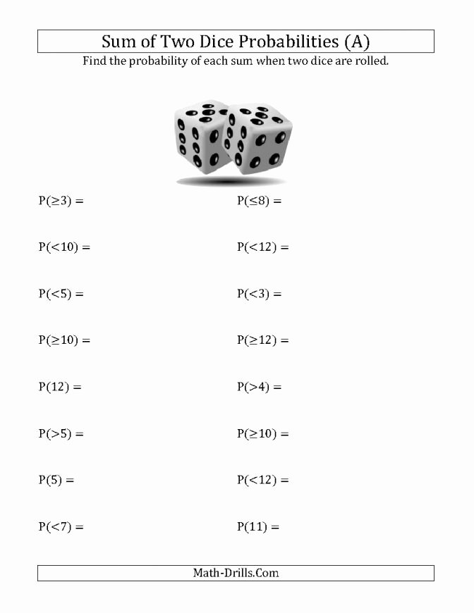 Conditional Probability Worksheet Kuta Sum Two Dice Probabilities A Probability Math Drills