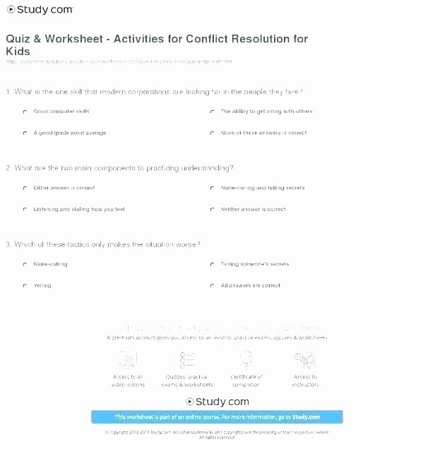 Conflict Resolution Worksheets for Students Vocabulary Worksheets for Kids