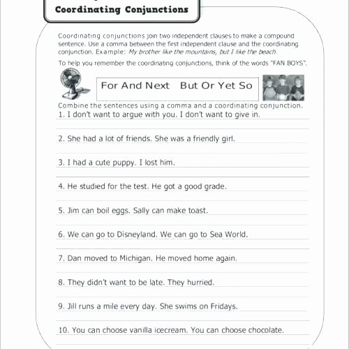 Conjunction Worksheet 3rd Grade Conjunction Worksheets for High School S Coordinating