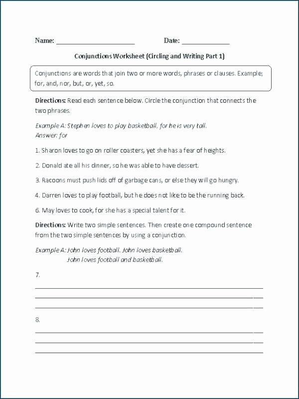 Conjunction Worksheet 5th Grade Contractions Grammar Worksheets Notice and Negatives 5th Grade