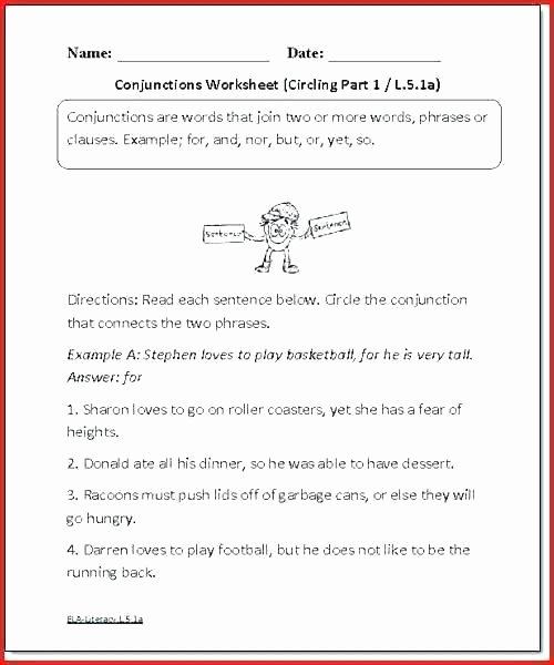 Conjunction Worksheet 5th Grade Grade Art Worksheets Fifth Language Arts Printable Line