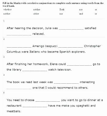 Conjunction Worksheet 5th Grade Grammar Worksheets Conjunction Worksheets Grade Free Using