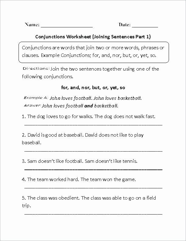 Conjunction Worksheet 5th Grade Identifying Parts Speech Worksheets 5th Grade Parts