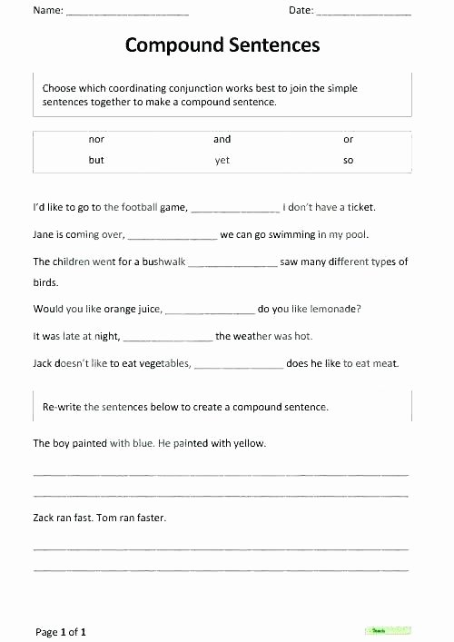 Conjunction Worksheet 5th Grade Simple and Pound Interest Worksheets the Best Image
