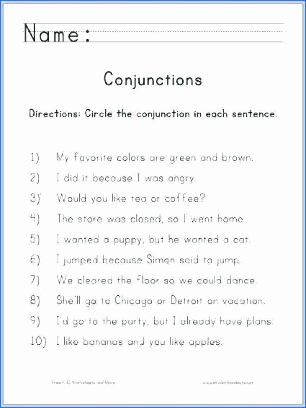 Conjunction Worksheets 6th Grade Conjunctions Worksheets 5th Grade Worksheet Prepositions and
