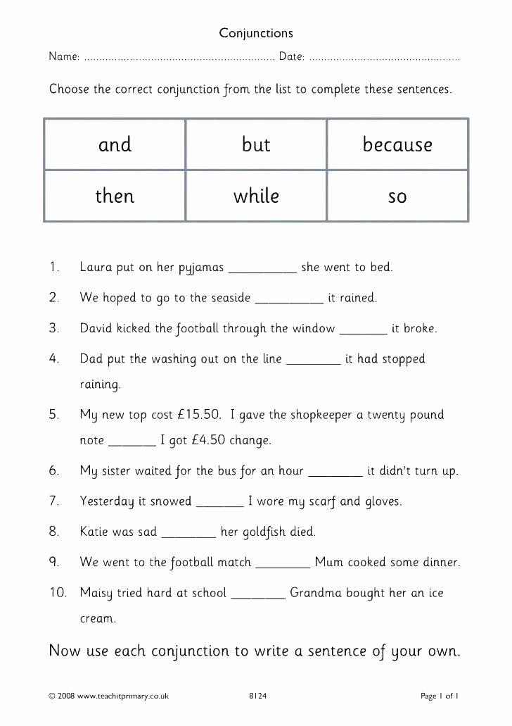Conjunction Worksheets 6th Grade Kindergarten Pound Words Worksheet Pound Words Worksheet