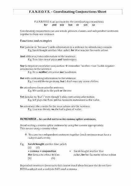 Conjunction Worksheets 6th Grade Pound Sentences Using Fanboys Worksheets
