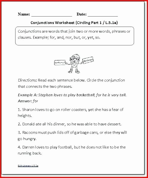 Conjunction Worksheets for Grade 3 1st Grade Language Worksheets