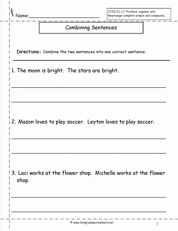Conjunction Worksheets for Grade 3 3rd Grade Sentence Worksheets