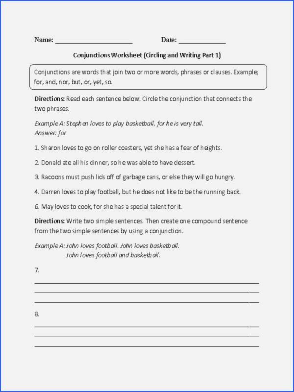 Conjunction Worksheets for Grade 3 Conjunction Worksheets Fresh Conjunctions Worksheets – 7th