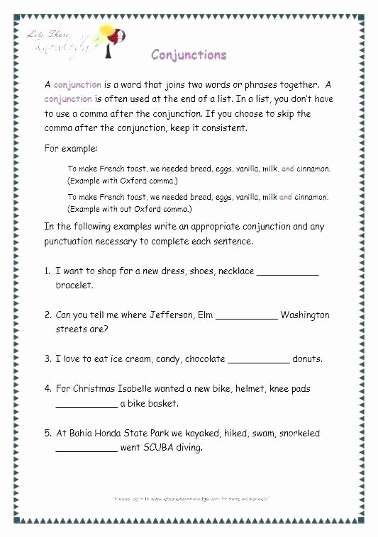 Conjunction Worksheets for Grade 3 Grammar Worksheets for Grade 3