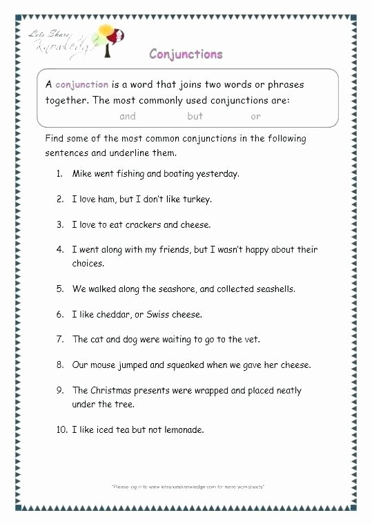 Conjunction Worksheets for Grade 3 Printable Worksheets Grammar for Grade 6 Lessons 6th Cbse