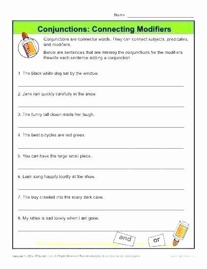 Conjunctions Worksheet 5th Grade First Grade Conjunction Worksheets 5 9 Conjunctions Coordinating