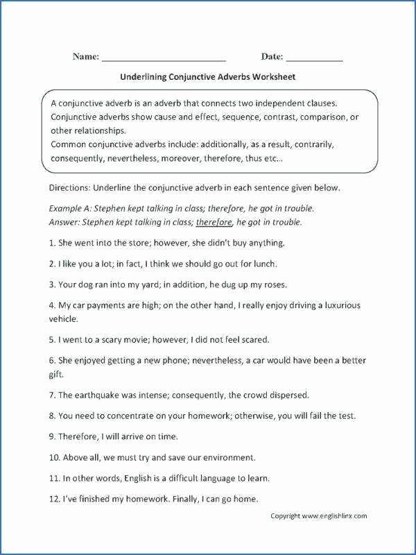 Conjunctions Worksheet 5th Grade Hyperbole Worksheets Grade 4 Figurative 2nd