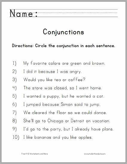 Conjunctions Worksheets 5th Grade Conjunctions Worksheets for Grade 5 with Answers